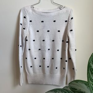 Loft Black and White Polka Dot Sweater sz M